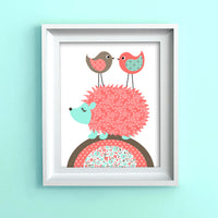 hedgehog with birds nursery print