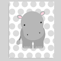 Printable Hippo Nursery Wall Decor | Pink and Grey Wall Art | DIY | Print at Home