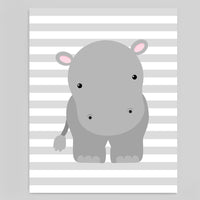 Printable Hippo Nursery Wall Decor | Pink and Grey Hippo Wall Art | Instant Download | DIY