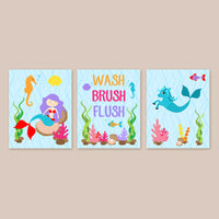 Set of three mermaid and hippocampus bathroom wall art