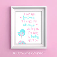 love you forever nursery print in aqua and pink