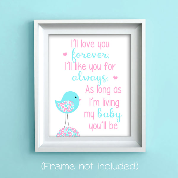 i'll love you forever nursery art print with bird