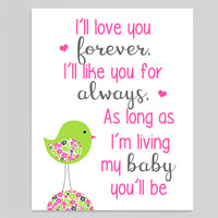 bird nursery print with saying I'll love you forever in fuchsia, gray and lime green.