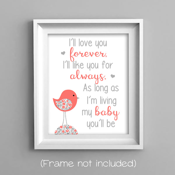 I'll love you forever bird nursery print in coral and grey