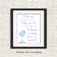 I'll love you forever nursery print