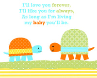 i'll love you forever nursery art print with turtles