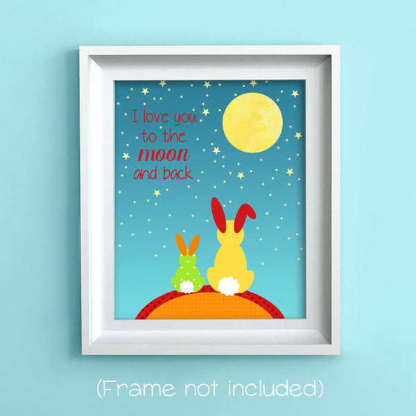 i love you to the moon and back nursery print with rabbits