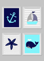 Aqua, navy and grey nautical nursery art prints