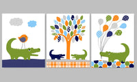 Set of three alligator prints in blue, navy, orange and green.