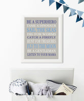 Be a Superhero nursery art print in blue, navy, white and gray.