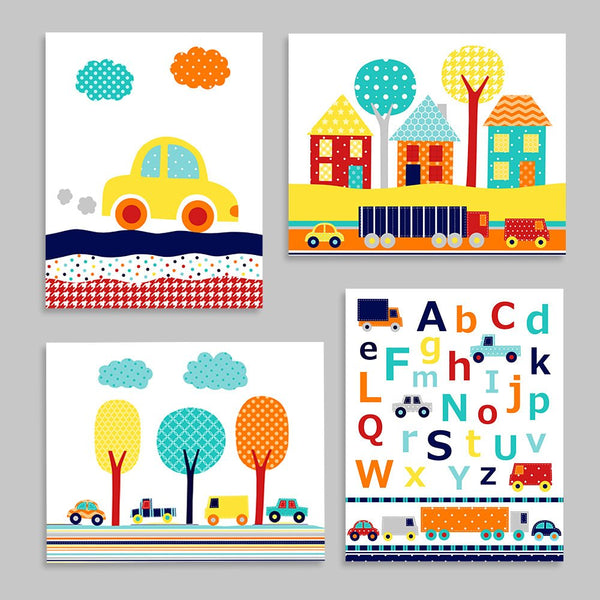 set of four car nursery art prints in bright primary colors