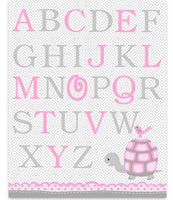 Alphabet Nursery Art, Alphabet Decor, Nursery Wall Art, Nursery Art Print, Turtle Nursery, Baby Room Decor, Alphabet Canvas, Nursery Canvas