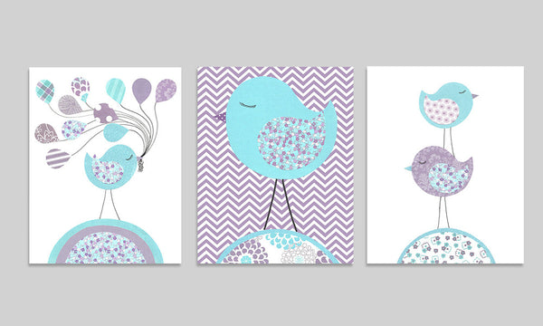 set of three bird prints in aqua and purple 16x20