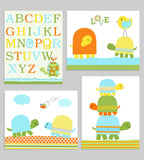 colorful turtle nursery art prints set of 4