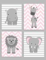 set of four grey and pink jungle animal nursery art prints