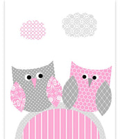 grey and pink owl nursery art print