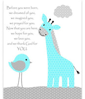 Before You Were Born nursery art print with giraffe and bird in aqua and grey.