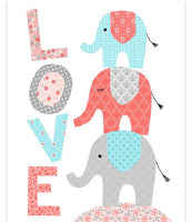 aqua, coral and grey elephants stacked with the letter L O V E nursery art print