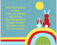 Bunny nursery art print with prayer