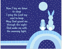 Rabbit Nursery Art, Bedtime Prayer Print, Bunny Nursery Art, Bunny Decor, Bunny Wall Art, Baby Boy Nursery, Navy and Blue, Baby Room Decor
