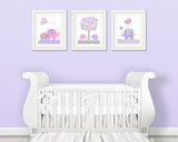 set of three grey, pink and purple elephant nursery art prints