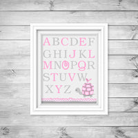Alphabet print with turtle and bird in grey and pink