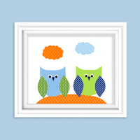 Baby Boy owl nursery art