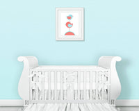 Nursery Art Print Bird Aqua and Coral Girl's Room Decor Children Baby Shower Gift Nursery Decorating Ideas Prints Canvas