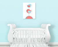 Nursery art print with two birds stacked in aqua and coral.