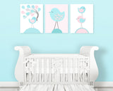 set of three aqua and pink bird nursery art prints