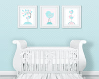 Baby Girl Decor, Bird Nursery Art, Aqua and Pink Nursery, Baby Girl Wall Art, Girl Wall Decor, Bird Wall Art, Baby Art Prints, Bird Canvas