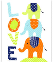 nursery art print with three elephants stacked and the word LOVE in citron, blue, orange, and navy