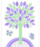 Mint and purple nursery art print with tree and two butterflies.