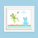 nursery art print with two frogs and a bee in blue, green and orange
