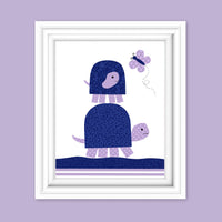 Purple and navy turtle nursery art