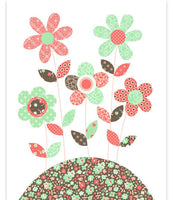 Nursery art print with flowers in mint, brown and coral