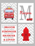 set of four firefighter nursery art prints with a fire truck on chevron background, fire hydrant with chevron background, monogram with fire truck, and Always Remember Poem