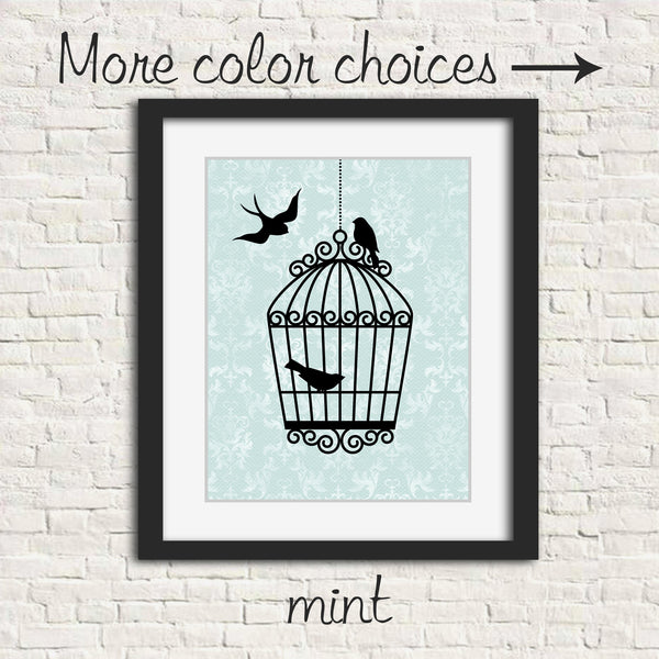 Bird nursery art print with birds and cage silhouettes on damask in mint, lilac, grey, beige or blue.