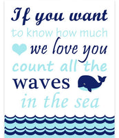 If You Want To Know Count All The Waves In The Sea nursery art print with whale in aqua and navy