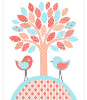 tree nursery print with two birds in aqua and coral.