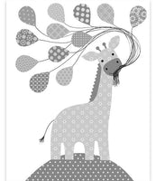 Giraffe nursery art print in grey and white.