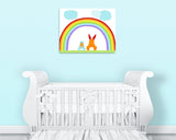 Bunny Nursery Art, Rabbit Kids Decor, Rainbow Print, Baby Room Decor, Baby Boy, Baby Girl, Gender Neutral, Baby Shower Gift, Bunny Canvas