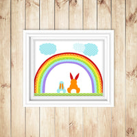bunny nursery art of two rabbits under a rainbow.