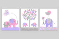 set of three gray, pink and purple elephant nursery art prints