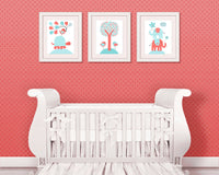 Aqua and Coral Nursery, Baby Girl Decor, Baby Art Prints, Elephant Nursery, Turtle Nursery, Girl Nursery Prints, Girl Wall Art, Bird Nursery