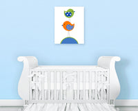 Baby boy nursery art print of two birds stacked on each other in royal blue, orange and green.