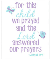 Nursery art print with butterflies and Samuel 1:27 Bible verse in aqua and purple