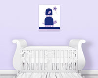Purple and navy nursery art