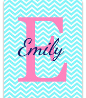 Monogram art print with large initial and name across initial, on chevron background.