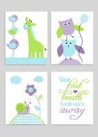 Set of four aqua, green and purple baby girl nursery art prints with cute animals.